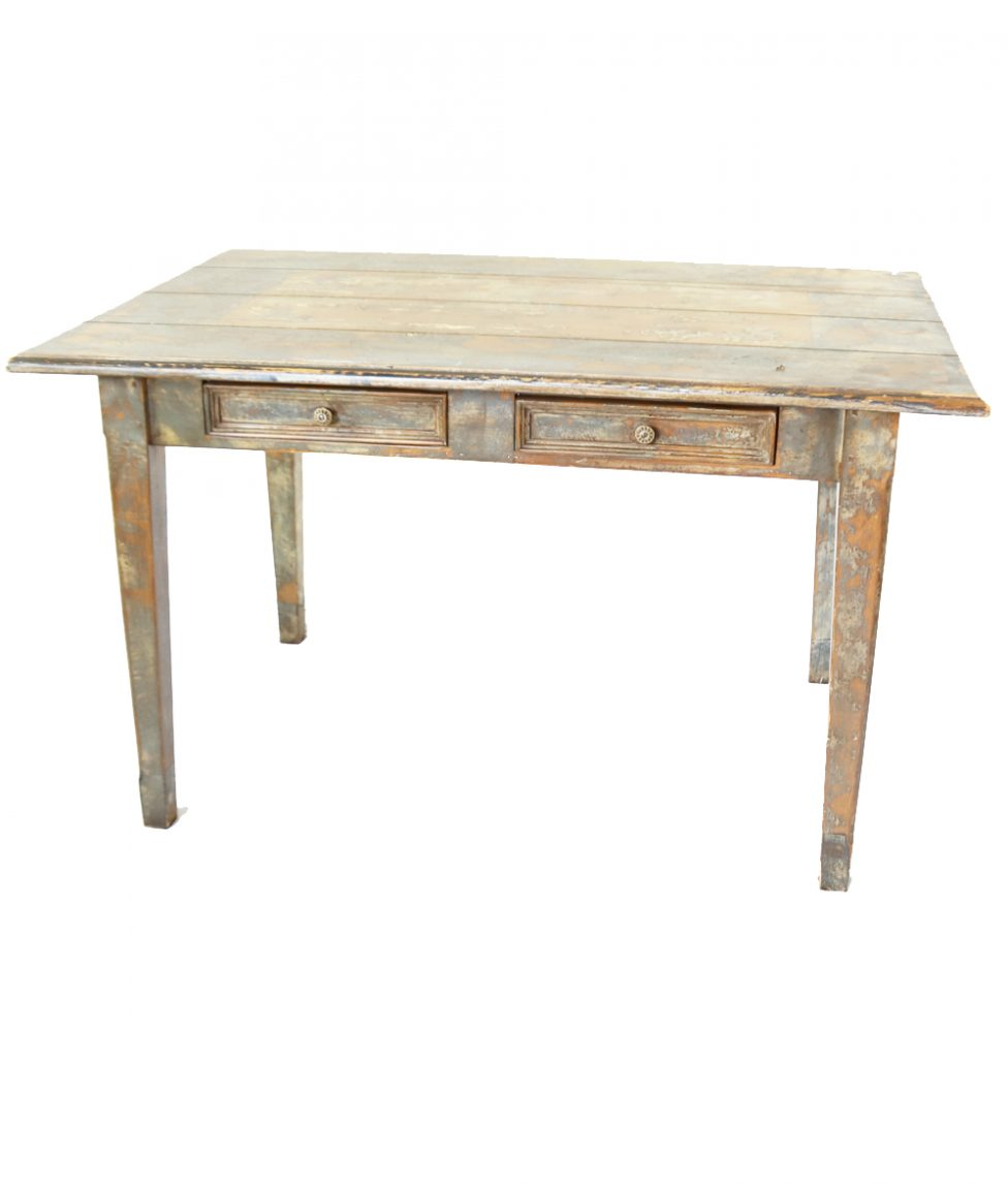 2-Drawer Rustic Painted Table