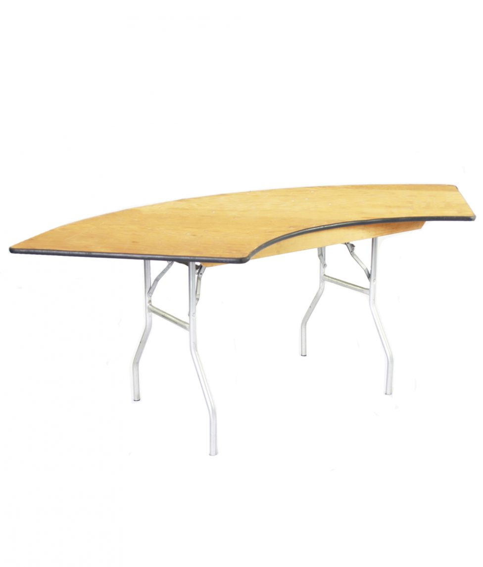 84_ Wood Serpentine Table